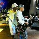 Caetano Veloso e Márcio Victor no palco do Rock in Rio Café