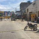 Frente do escritório da Prosegur em Eunápolis; área segue isolada