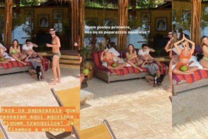 Isoladas em ilha particular, Marquezine e Manu Gavassi ironizam paparazzis