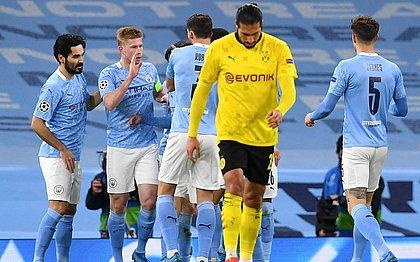 Jogadores do City comemoram vitória sobre o Dortmund