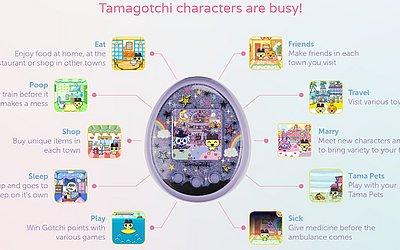 Viagens, interação com os amigos e até casamento fazem parte das funções do novo Tamagotchi