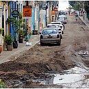 Rua Direita do Santo Antônio apresentava trechos alagados na manhã dessa segunda-feira, 28
