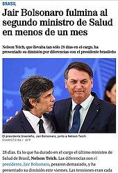 """El Mundo: O jornal espanhol publicou que a escalada da tensão entre Jair Bolsonaro e o ministro Teich era """"cada vez mais evidente"""" e lembrou que ministro ficou apenas 28 dias"""