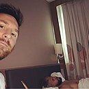 Messi, o mate e Agüero dormindo