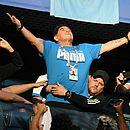 Maradona em São Petersburgo durante jogo Nigéria x Argentina