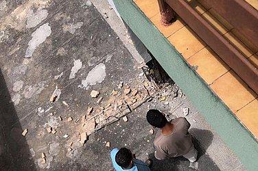 O morador fotografou a situação das colunas momentos antes de o prédio desabar