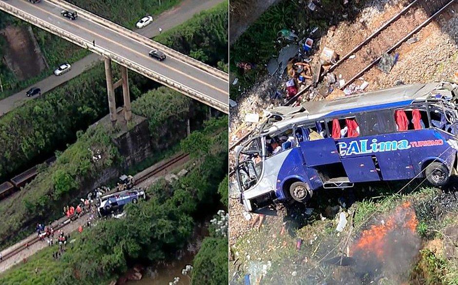 Motorista de ônibus que caiu de viaduto pulou do veículo antes da queda e fugiu