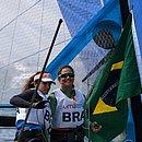 Martine e Kahena comemoram a medalha de ouro