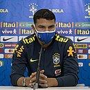 Thiago Silva, zagueiro da seleção brasileira, durante entrevista coletiva