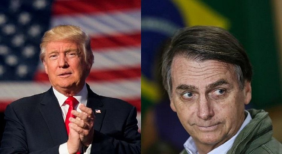 O presidente estadunidense Donald Trump e Jair Bolsonaro, chefe de estado do Brasil