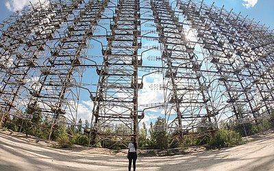 Radar soviético Duga, uma das estruturas abandonadas