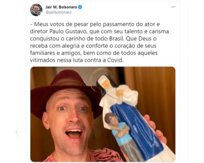 Bolsonaro lamenta morte de Paulo Gustavo: 'que Deus o receba com alegria'