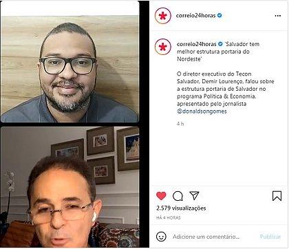 O jornalista Donaldson Gomes, editor do CORREIO, durante entrevista com o diretor executivo do Tecon Salvador, Demir Lourenço