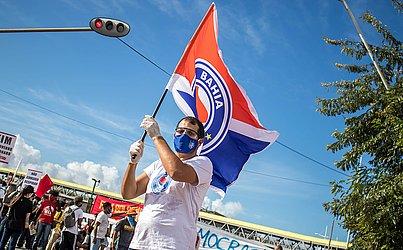 Torcedores do Bahia participaram da manifestação.