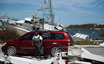 Destruição em Marsh Harbou, nas Bahamas