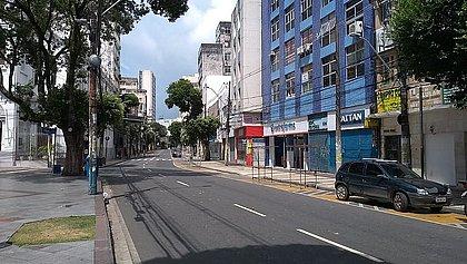 Centro da Cidade vazio durante período do toque de recolher