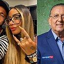 Rafaella, ao lado de Neymar, e Galvão Bueno: irmã do jogador mandou indireta para narrador