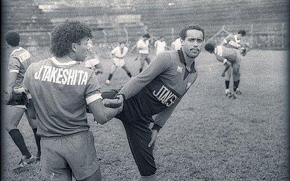 Borges treinando pelo Vitória em foto de 1988. Defendeu o gol rubro-negro durante 14 anos, 1982 a 1996