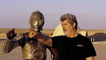 O diretor Geroge Lucas no set de Star Wars