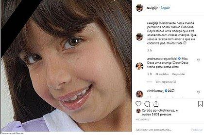 Raul Gil Júnior lamenta morte de ex-caloura mirim Yasmim Gabrielle