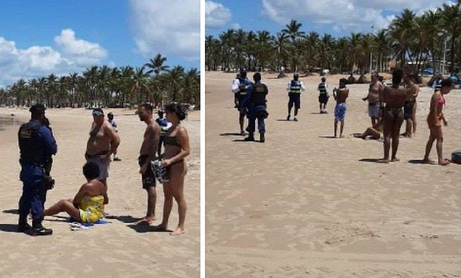 Em dia ensolarado, banhistas ignoram decreto e vão novamente às praias de Salvador