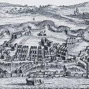 Gravura do geógrafo inglês Emanuel Bowen mostra Salvador e seu porto no século XVIII