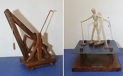 Projeto de catapulta e stand up paddle desenhados por Da Vinci e criados por Thales