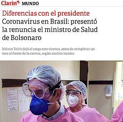 """Clarín: O jornal argentino  destacou que Teich tinha """"diferenças com o presidente"""" Jair Bolsonaro. A publicação reforçou que o então ministro e seu antecessor tiveram problemas com Bolsonaro"""