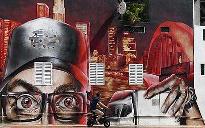 Mural na cidade de Singapura.