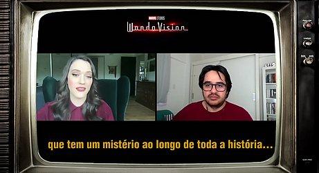 Com Kat Dennings na promoção da série 'WandaVision', da Marvel