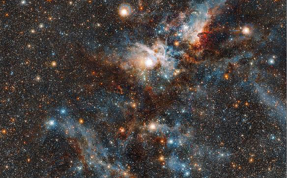 Imagem do Observatório Europeu do Sul mostra a nebulosa Carina, que revela a dinâmica nuvem de matéria interestelar fina que espalhou gás e poeira como nunca antes.