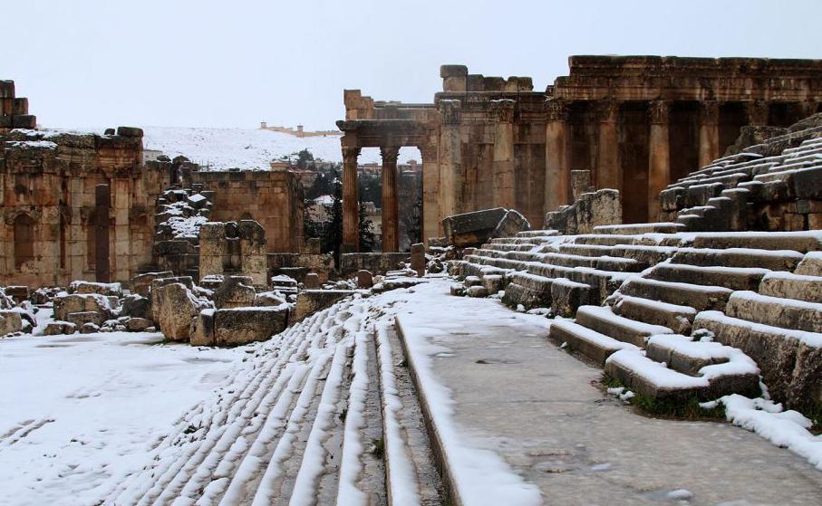 Ruinas do Império Romano na cidade de Baalbeck, no vale do Bekaa, no Líbano.