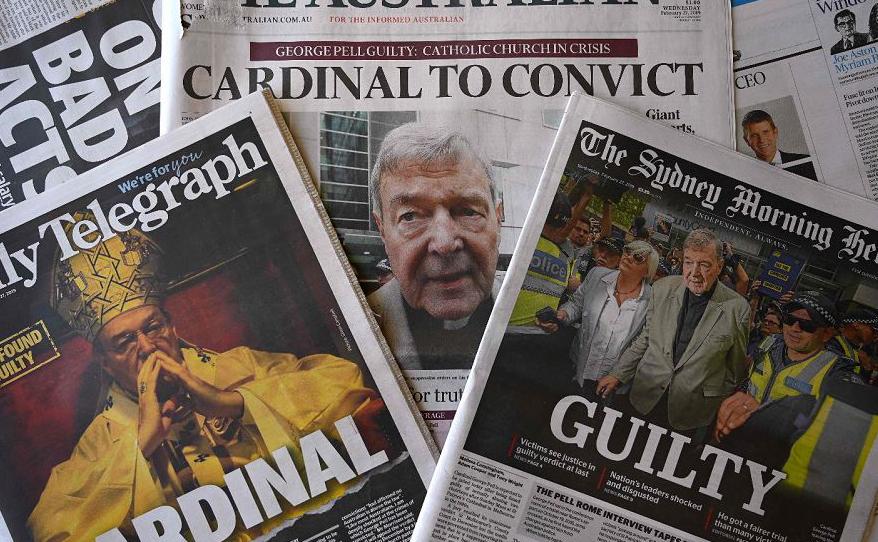 As primeiras páginas dos principais jornais da Austrália, relatam a histórica condenação do Cardeal George Pell, um dos homens mais poderosos da Igreja Católica,  por crimes sexuais.