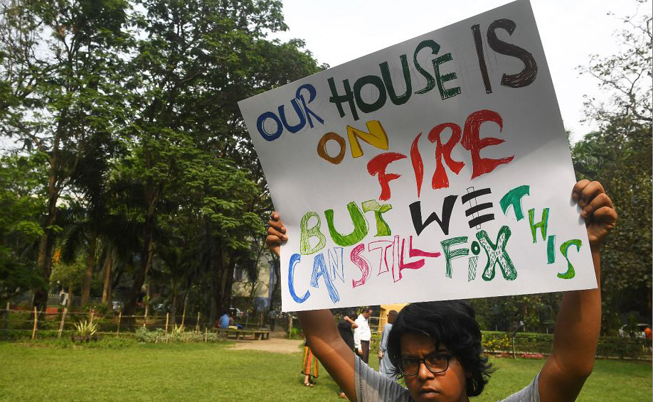 Manifestação em Kolkata, na Índia.