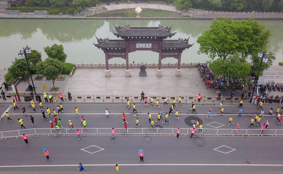Meia maratona na província oriental de Jiangsu Yangzhou, na China.