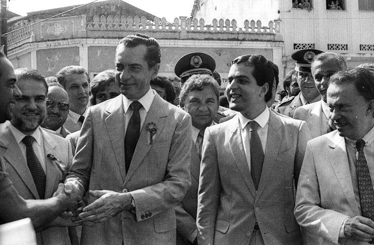 O ex-governador João Durval ao lado do ex-deputado Luís Eduardo Magalhães