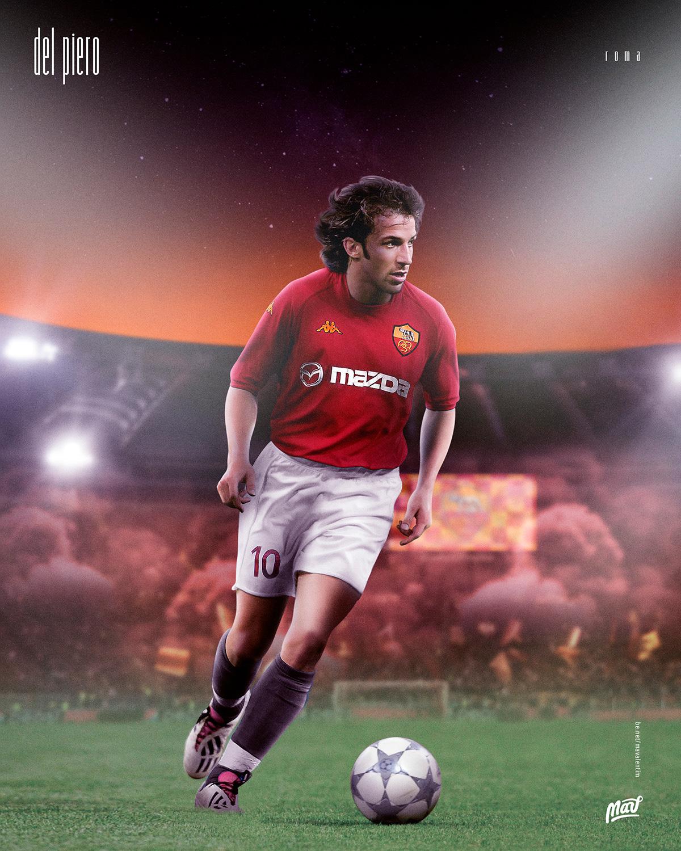 Del Piero com a camisa da Roma