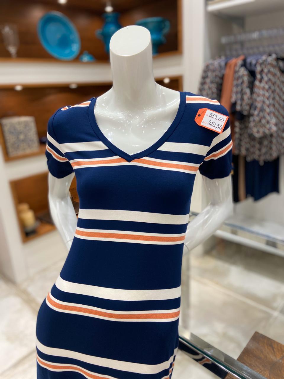 Vestido listrado (Stroke - Shopping Barra) de R$ 359 por R$ 251,3 (30%)