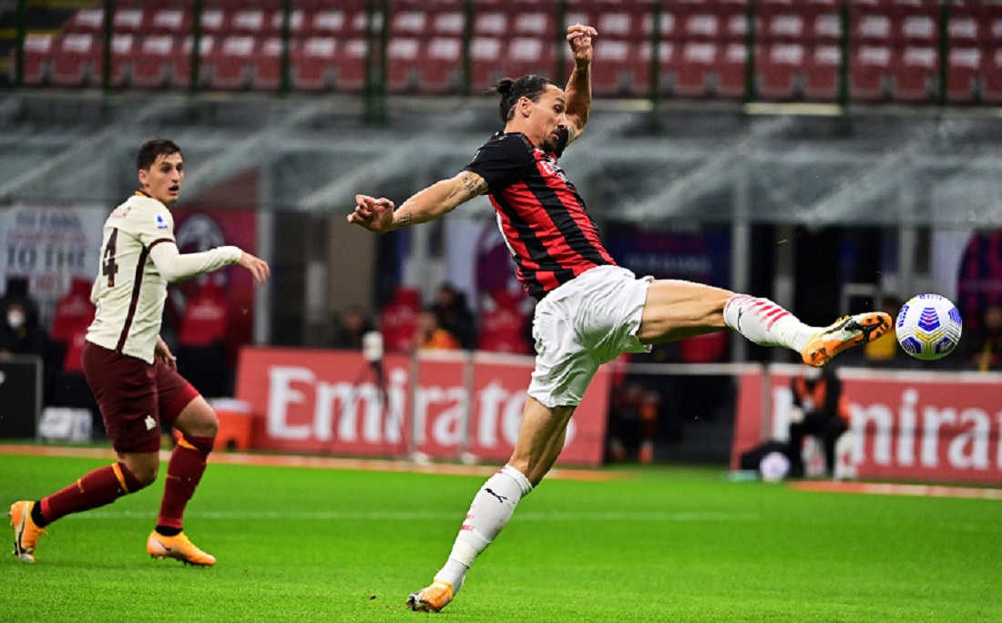 Ibrahimovic fez dois gols, mas Milan ficou no 3x3 com a Roma
