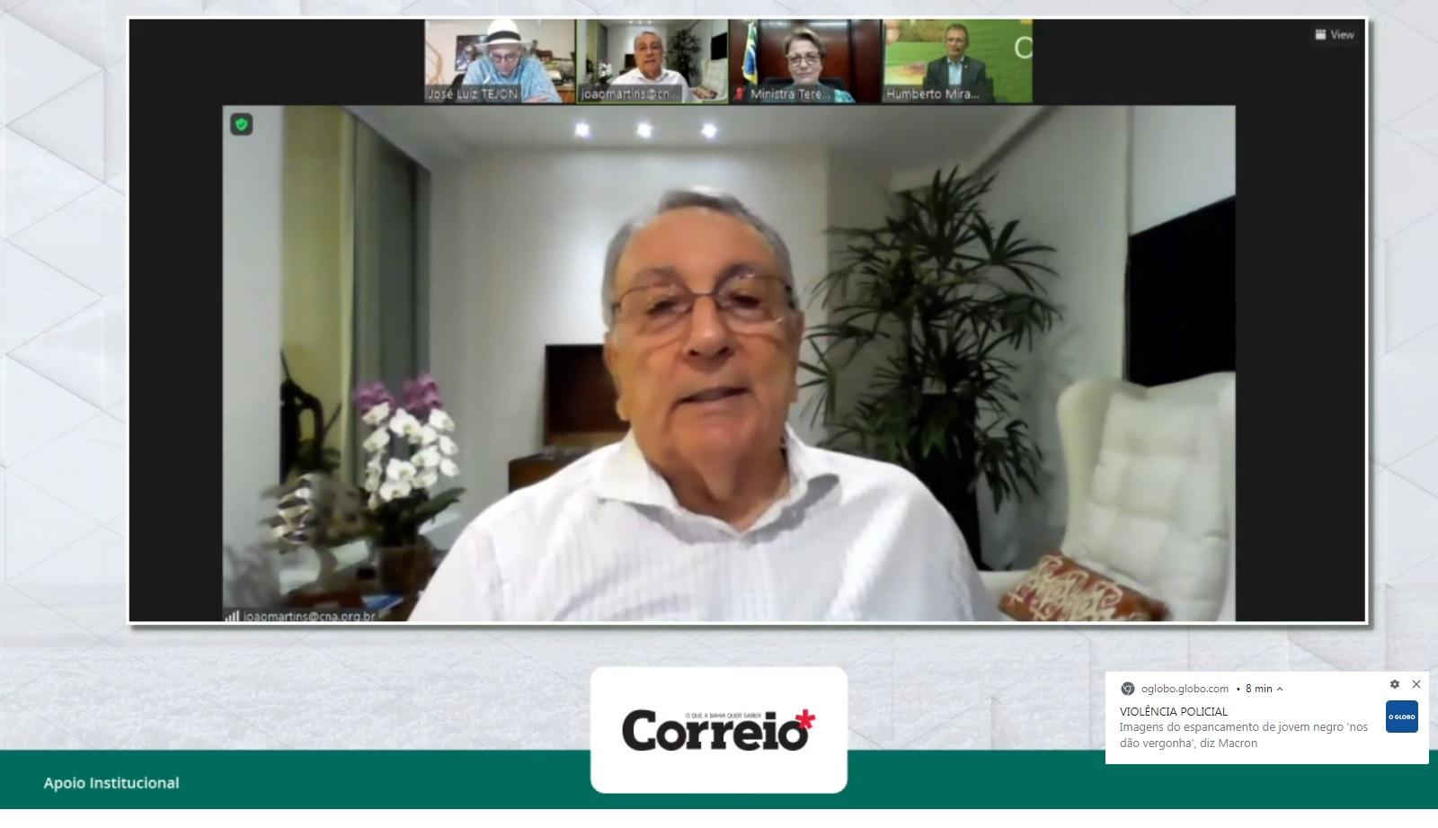 O presidente da CNA João Martins participou do e-Agro
