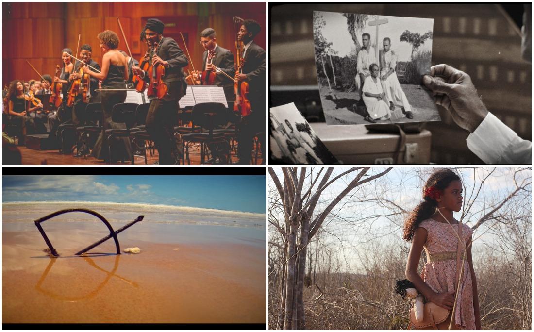 Quatro dos seis longas indicados, no sentido horário: Neojiba; Memórias Afro-Atlânticas; Rosa Tirana e Dorivando Saravá